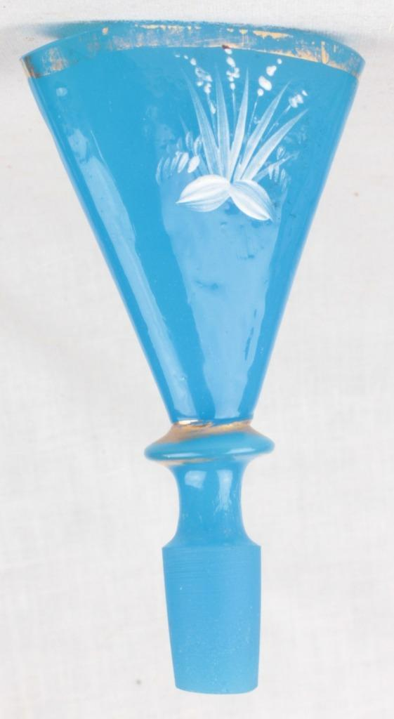 Victorian Mary Gregory French Blue Glass Decanter Cologne Bottle Stork Vanity