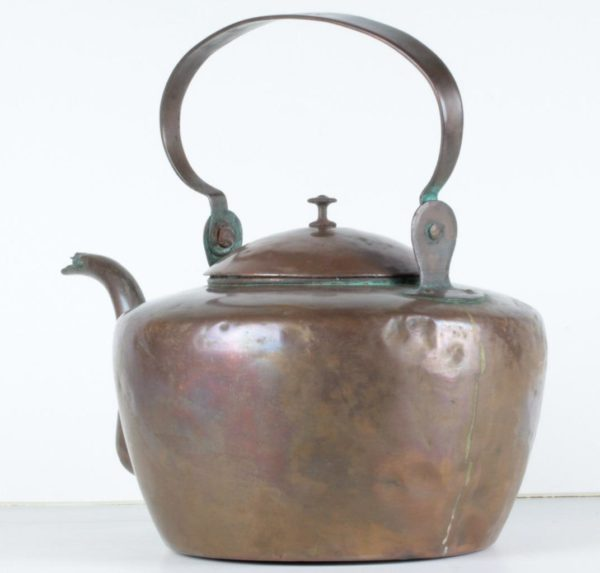 C.1800 Dovetailed Copper Tea Kettle Pennsylvania Stamped by John Kidd