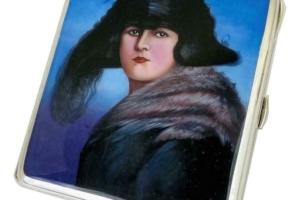 Antique Art Deco Alpaca Silver Enamel Woman Painted Portrait Cigarette Case Box