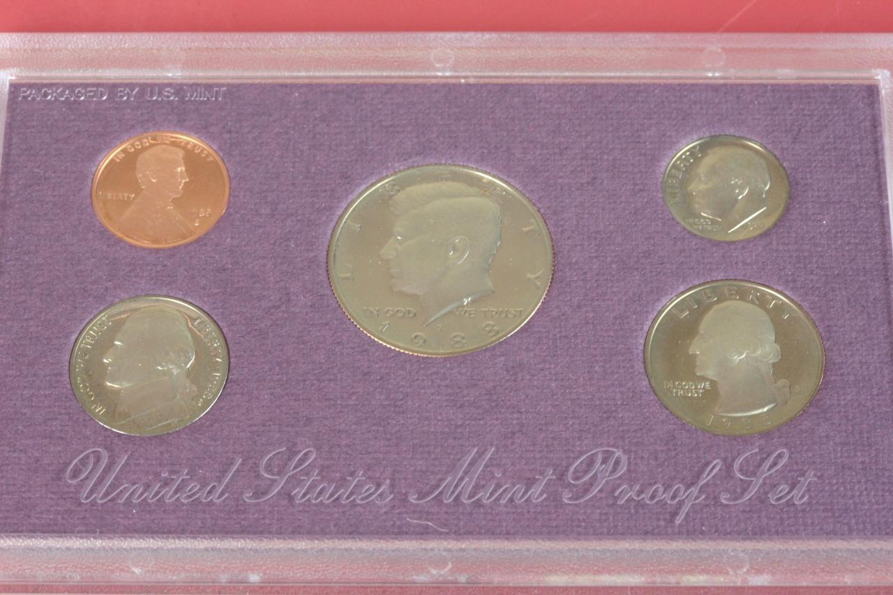 1988 Proof Set Original Box US Mint 5 Coins