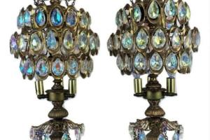 BIG Pair Hollywood Regency Kitsch Crystal Chandelier Torchieres Candelabra Lamps
