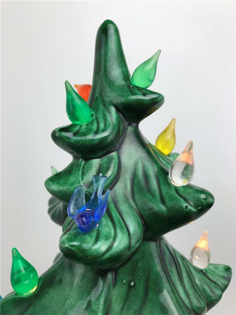 17 Ceramic Light Up Green Xmas Christmas Tree Music Box W Bulbs