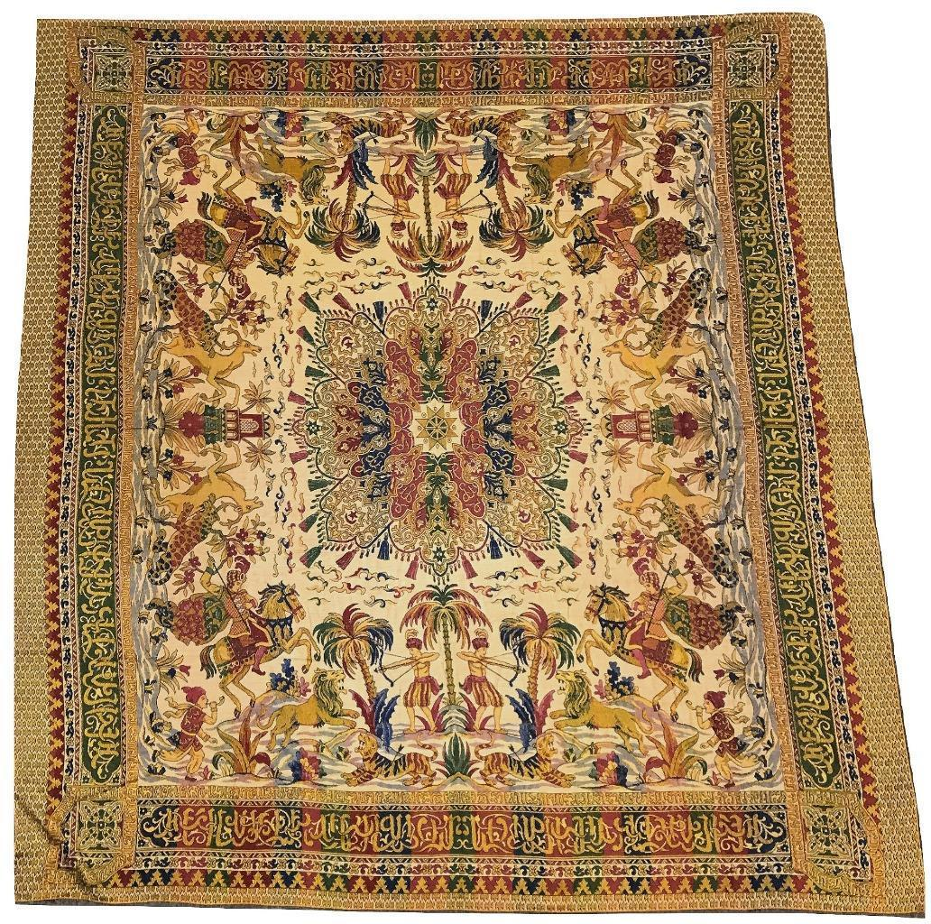 Sold Persian Turkish Islamic Woven Fabric Tapestry Rug