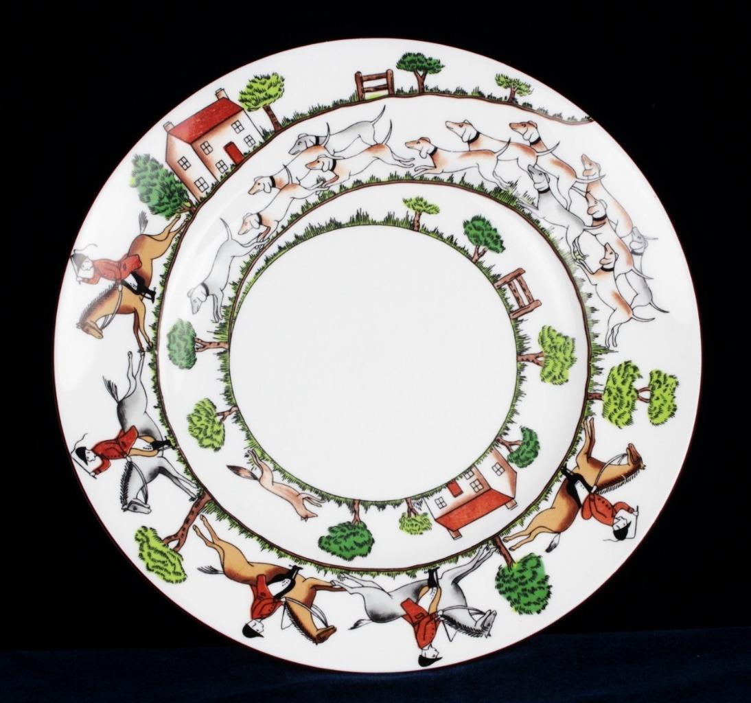 Crown Staffordshire Hunting Scene China Salad Plate 9