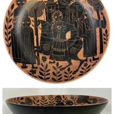 Monumental MARCELLO FANTONI Italy 1950s Mid Century Sgraffitto Ceramic Bowl Dish