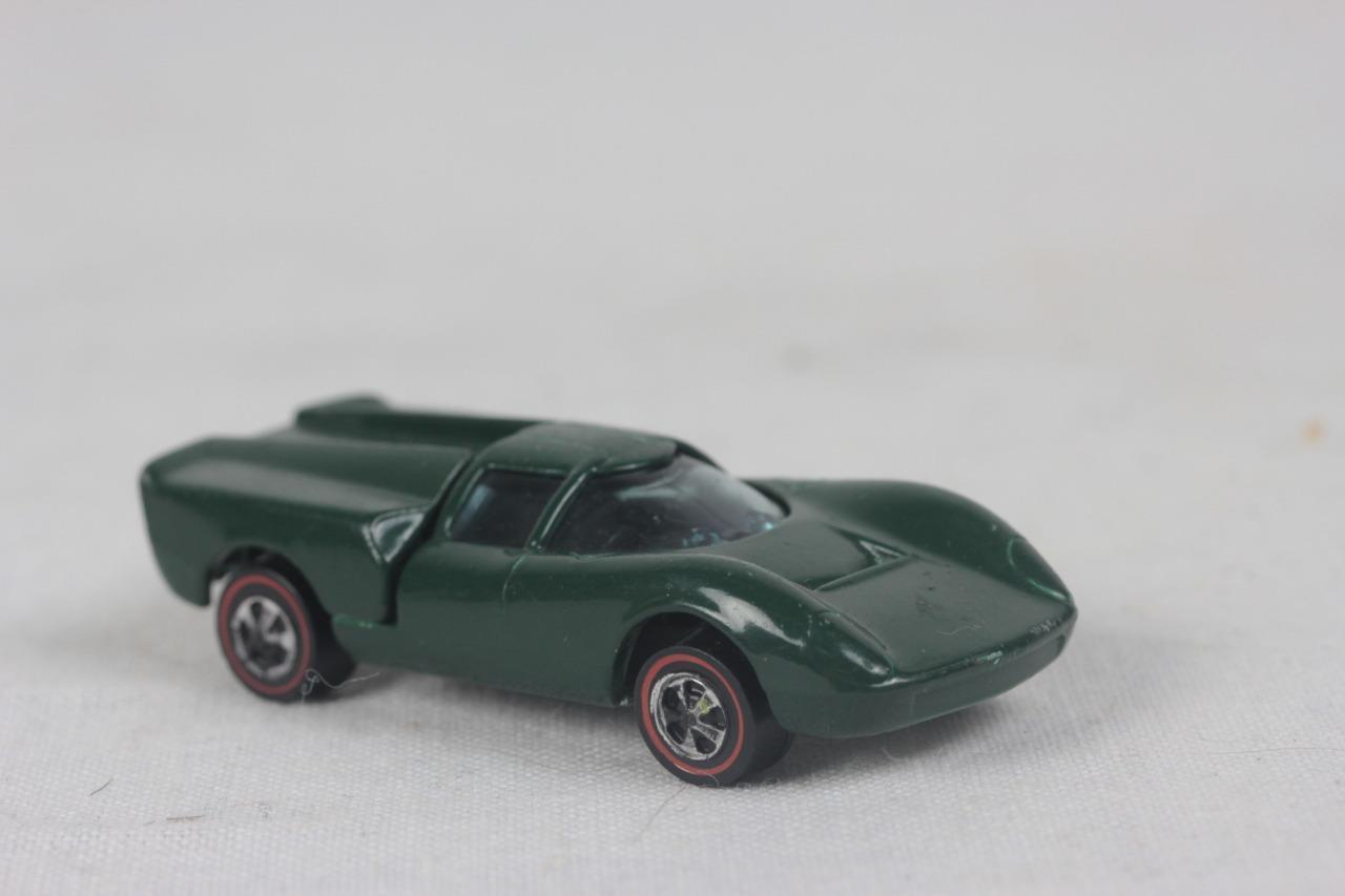 1968 Hot Wheels Lola Gt70 Redline Olive Green Mattel Die