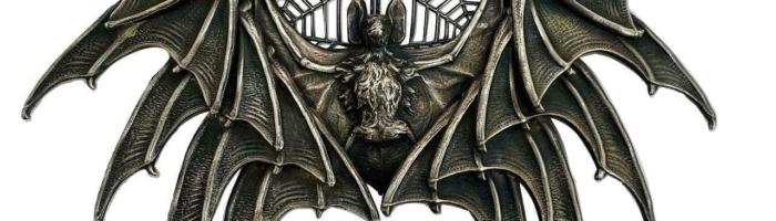 Vintage L'ART EST NIE Swiss Large Metal Halloween Bat Cobweb Macabre Belt Buckle