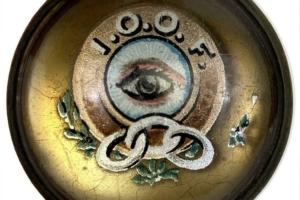 Antique IOOF Intl Order of Odd Fellows Reverse Glass Painted Horse Brass Button