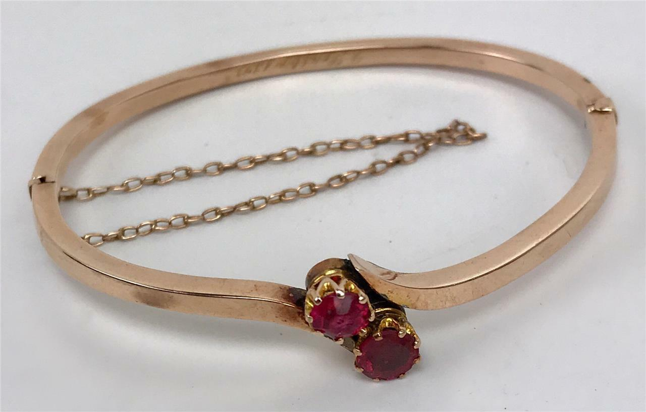 Sold 1893 10k Victorian Rose Gold Twin Faux Rubies Bangle