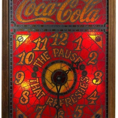 Vintage COCA COLA Coke Ad Logo 70s Faux Stained Glass Centennial Light Up Clock