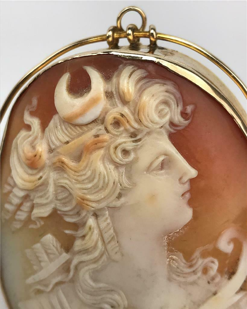 e427e4f064784 Antique Victorian Estate 10K Gold Carved Cameo Huntress Diana Pin ...