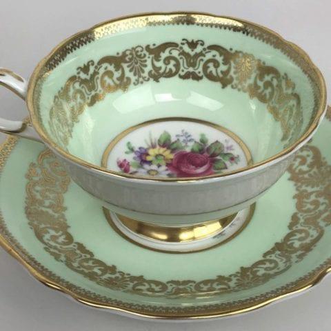 Vintage-PARAGON-Royal-Warrant-Green-Gilded-Bone-China-Porcelain-Tea-Cup-Saucer-173617204018-4