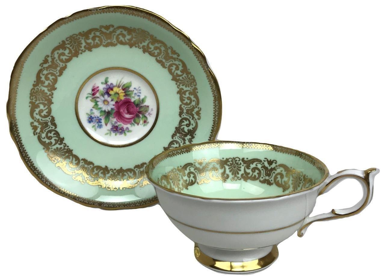 Vintage PARAGON Royal Warrant Green Gilded Bone China Porcelain