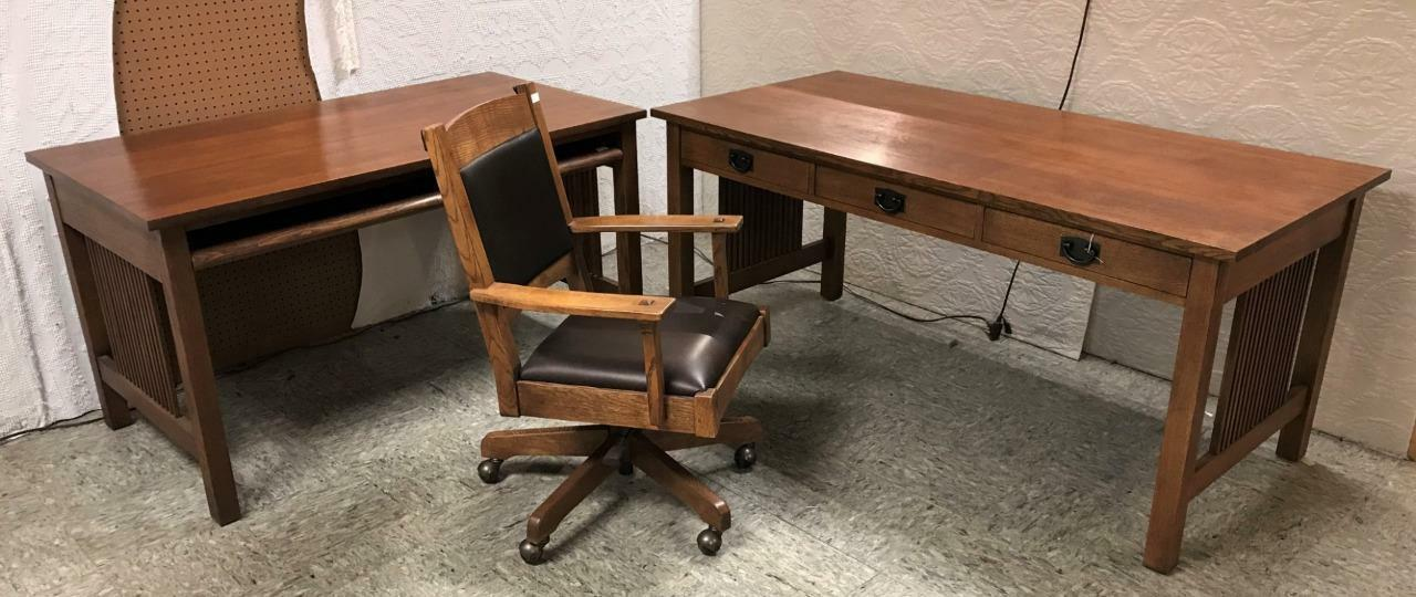 Prime 3 Pcs Stickley Oak Home Office Spindle Library Table Download Free Architecture Designs Scobabritishbridgeorg