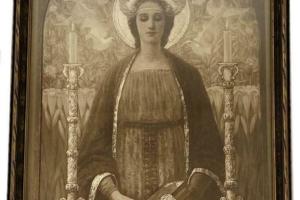 Antique J. William Fosdick The Virgin of Wisdom Mass Artist Signed Framed Print