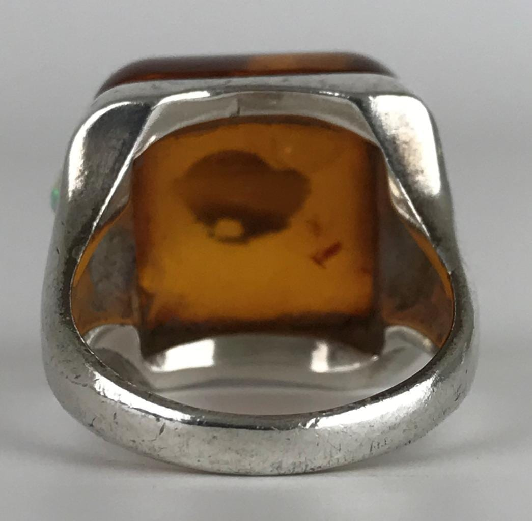 0866d6b1c5ac7 Sz. 6.75 Baltic Amber Fire Opal Cabochon Sterling Silver Cocktail ...